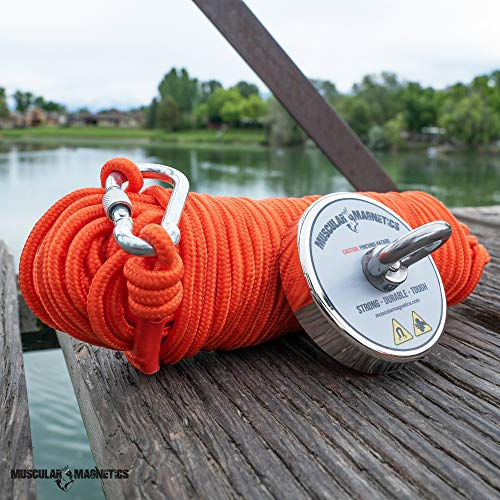 Pulling Force Rare-Earth Magnet with Eyebolt 420kg 925lb Fishing Magnet Bundle Pack Non-Slip Rubber Gloves /& Super Strong 925lb Includes 6mm 100ft High Strength Nylon Rope with Carabiner