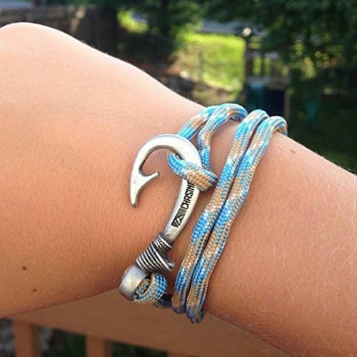 Chasing fin adjustable bracelet 550 military paracord with for Fish hook paracord bracelet