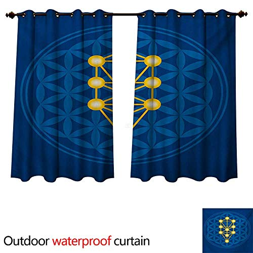 WilliamsDecor Egyptian Outdoor Curtain for Patio Spiritual Symbol Over Flower of Life Ancient Abstract Secret Ratio Pattern W55 x L72(140cm x ()