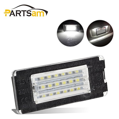 Partsam 2pcs 6000K White Car Truck 18-SMD LED Rear License Plate Lights Lamp Replacement for Mini Cooper R56 R57 R58 R59 - Auto Mini 2006 Accessories
