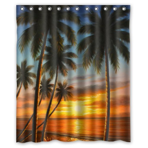 """CozyBath Tropical Waterproof Polyester Fabric 60""""(w) x 72""""(h) Shower Curtain and Hooks"""