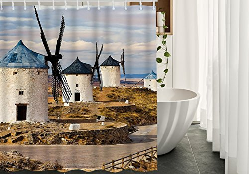 HGOD DESIGNS Shower Curtain for Bathroom,Windmill Medieval Spain,Waterproof Polyester Fabric Shower Curtains Set with Hooks,Blue White Light Brown,48''x72'' by HGOD DESIGNS