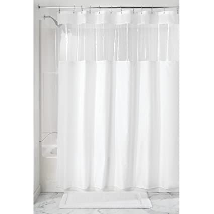 Amazon InterDesign Fabric Shower Curtain With Clear Window For