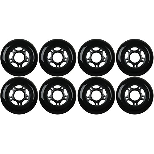 KSS Outdoor Asphalt Formula 89A Inline Skate X8 Wheels, Black, 80mm (Best Inline Wheels For Concrete)