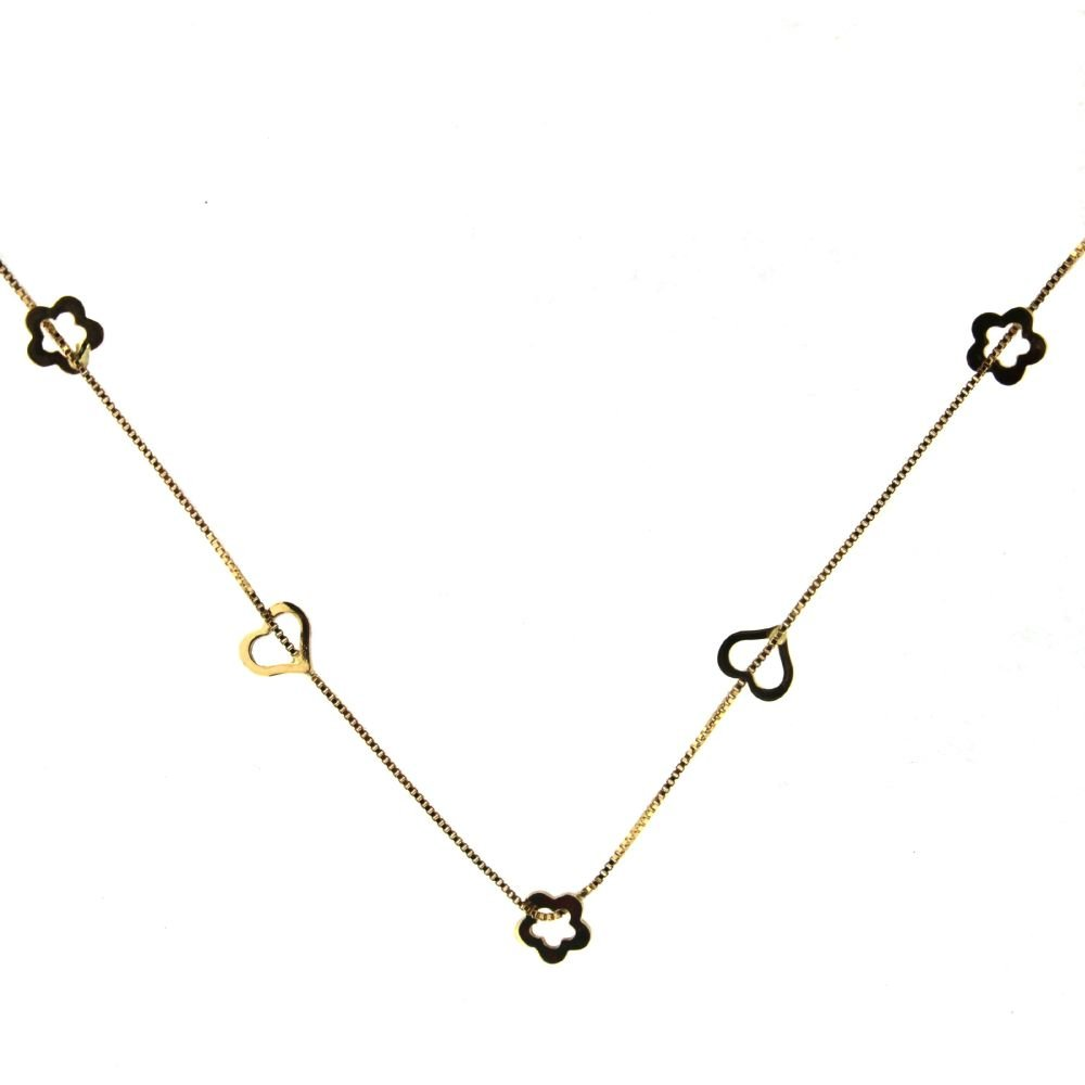 18k Yellow Gold open hearts necklace 16 inches