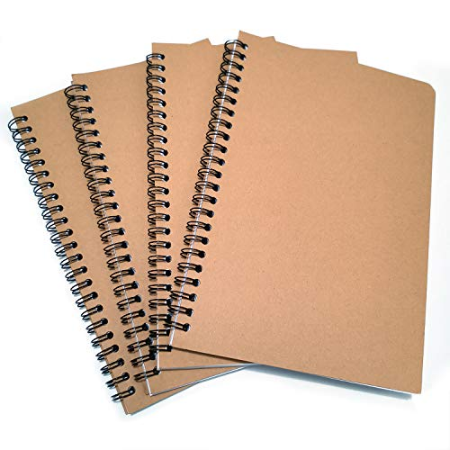 Small Unlined Notebook Sketchbook Journal with Blank Paper Spiral Drawing Memo Notepads, 8.25 inches by 5.5 inches, 100 Pages/50 Sheets, Perfect for Travel Art, Take notes, Work records (Unlined Spiral Bound Journal)