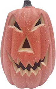 FENICAL Halloween Plastic Pumpkin Lantern Battery Operated Haunted House Creepy Props Portable Hanging Decoration 17x20x12cm