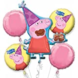 Peppa Pig Balloon Birthday Party Favor Supplies 5ct Foil Balloon Bouquet