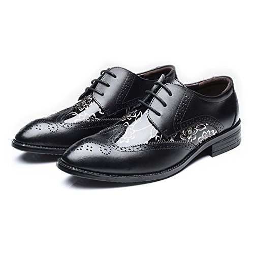 39 PU Color Dimensione Scarpe shoes Uomo EU pelle traspirante motivo Nero Scarpe fodera uomo Xiaojuan liscio Pelle in Carving Stringhe con Orange da floreale Splice con Hollow 50SWgf1Wn