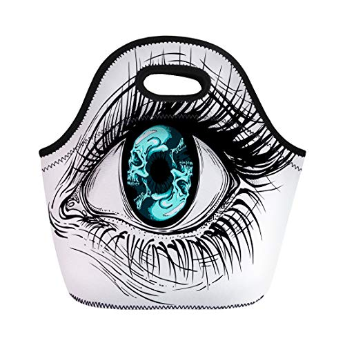 Semtomn Neoprene Lunch Tote Bag Tattoo of Realistic Human Eye Girl Circular Blue Skull Reusable Cooler Bags Insulated Thermal Picnic Handbag for Travel,School,Outdoors, -