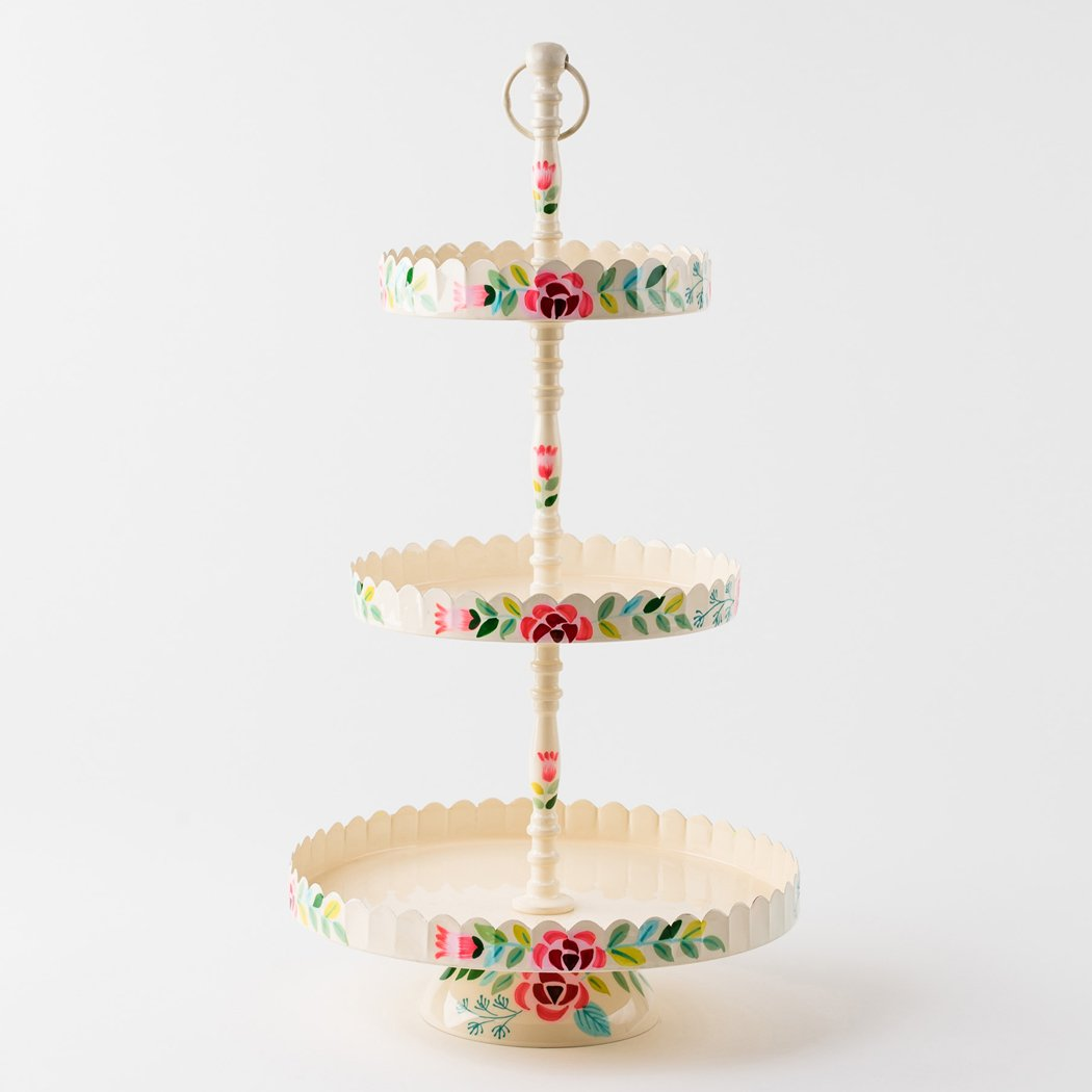 Hand Painted Floral Three Tier Stand