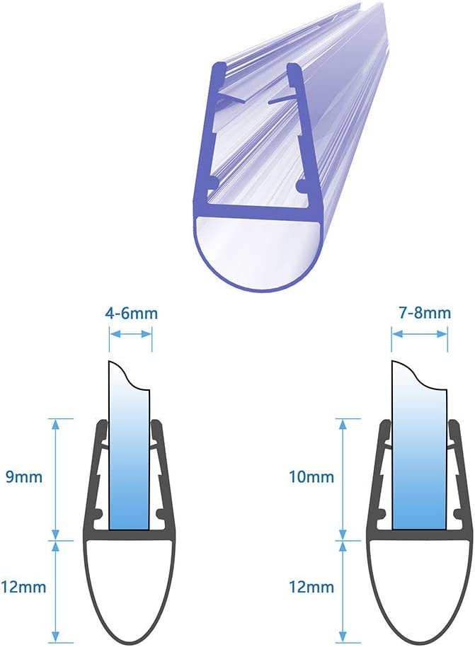 Duschdichtung Schwallschutz Wasserabweiser Ersatzdichtung 4//5//6//8mm Glas 90 cm