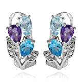 Jewelrypalace 2.7ct Natural Amethyst Sky Blue Topaz Swiss Blue Topaz 925 Sterling Sliver Hoop Earrings