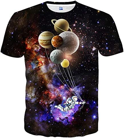 Linnhoy Unisex Casual 3D Printed T-Shirts Short Sleeve Tops Tees