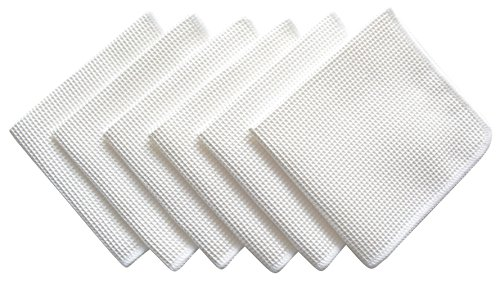 Sinland Microfiber Deep Waffle Weave Facial Cloths 6 Pack 12inch X 12inch White