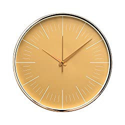 "Luxury Modern 12"" Silent Non-Ticking Wall Clock with Rose Gold Frame (Golden Sand)"
