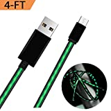 Micro USB LED Charging Cable,Tomoson LED Android Charger Visible Flowing 4ft Micro USB Data Sync Charging Cable Cord for Samsung/Pads/MP3/GPS/Game Console/Bluetooth Headphones Green