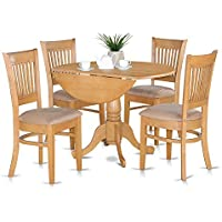 East West Furniture DLVA5-OAK-C 5-Piece Kitchen Table Set, Oak Finish