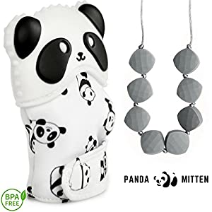 Baby Teething Mittens + Teething Necklace - Best for 3-12 Month Infants, Top New Mom Baby Shower Gift Set | Self Soothing Silicone Toy for Pain Relief, Necklace For Mom To Wear, 100% BPA Free