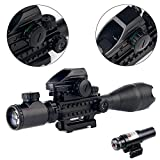 AR15-Tactical-Rifle-Scope-C4-16x50EG-3-in-1-Hunting-Dual-Illuminated-with-Red-Laser-Sight-and-4-Holographic-Reticle-Red-and-Green-Dot-Sight-12-Month-Warranty-for-2211mm-WeaverPicatinny-Rail-Mount