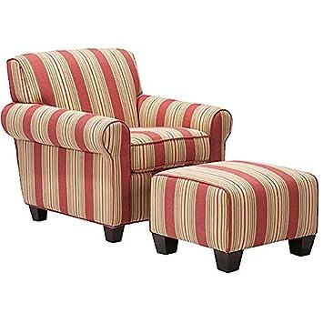 Metro Shop Portfolio Mira 8-way Hand-tied Crimson Red Stripe Arm Chair and Ottoman
