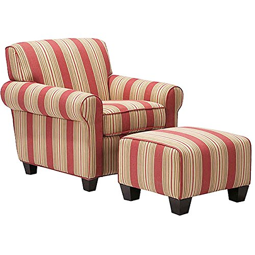Metro Shop Portfolio Mira 8-way Hand-tied Crimson Red Stripe Arm Chair and Ottoman (Red Chair With Ottoman compare prices)
