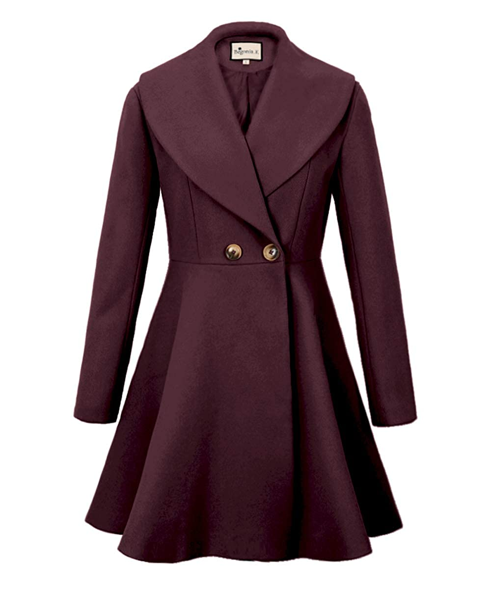 Wine Red Begonia.K Women's Wool Trench Coat Lapel Wrap Swing Winter Long Overcoat Jacket