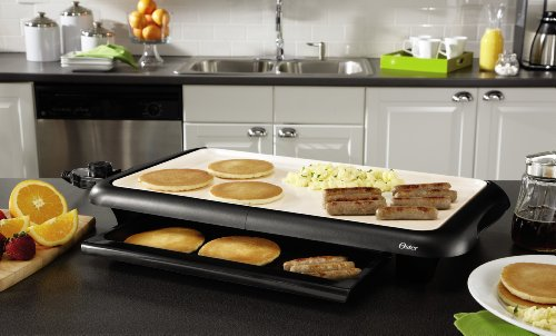 Oster Titanium Infused DuraCeramic Griddle with Warming Tray, Black/Crème (CKSTGRFM18W-TECO) by Oster (Image #3)