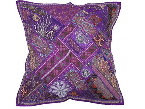 NovaHaat Purple and Iris Handcrafted Tapestry Floor Pillow Cover - Beaded Decorative Sari Patchwork Ethnic Indian Large Square Euro Sham ~ 26 Inch x 26 Inch