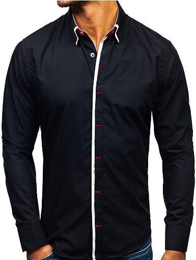 Pageantry - Camisa de Vestir de Manga Larga para Hombre, diseño clásico, Cuello Redondo: Amazon.es: Ropa y accesorios