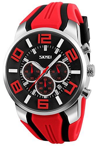 Watch Face Big - Mens Big Face Watch Unique Fashion Colorful Analog Quartz Chronograph Sports Wristwatches Red