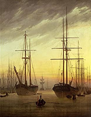 View of a Harbour by Caspar David Friedrich. 100% Hand Painted. Oil On Canvas. Reproduction. (Unframed and Unstretched).