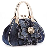 Kaxidy Ladies Girls Womens Denim Handbag Jean Bag Denim Shoulder Bag Shopper Satchel Messenger Tote Bags (Gold)