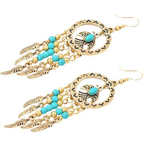 (Fancy Boho Turquoise Gemstone Dangle Hook Earrings Metal Feather Bead Tassel Necklace Jewelry Crafting Key Chain Bracelet Pendants Accessories Best)