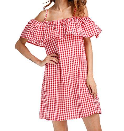 Montato Delle Slittamento Reticolo Vestito Coolred Arruffato Partito Backless Donne Rosso vXddqwxr
