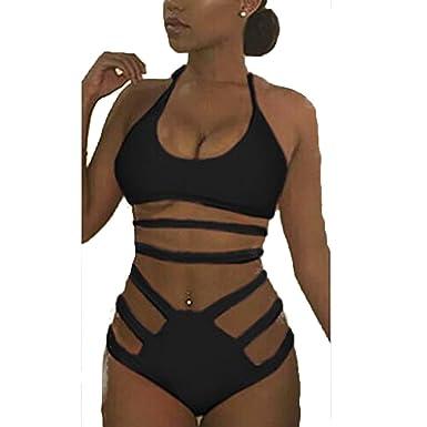 6ac123b76125 Amazon.com: FineLook Sexy Womens High Waist Strappy Bandage Two Piece  Bikini Bathing Suit: Clothing