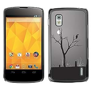 Qstar Arte & diseño plástico duro Fundas Cover Cubre Hard Case Cover para LG Google NEXUS 4 / Mako / E960 ( Moon Parrot Art Drawing Rainforest Climate Change)