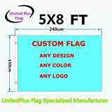 Unitedplus 5×8 Foot custom flag-100D Polyester with Brass Grommets 5 X 8 Ft- Customize Flags And Banners For Sport Outdoor Banner custom flag- Advertising Banner (5X8 FT) Review