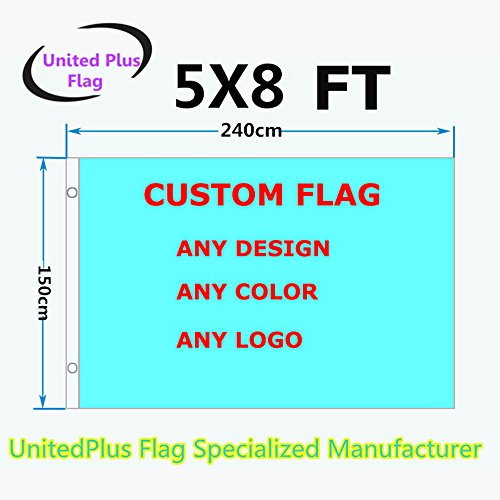 Unitedplus 5x8 Foot Custom flag-100D Polyester with Brass Grommets 5 X 8 Ft- Customize Flags and Banners for Sport Outdoor Banner Custom Flag- Advertising Banner (5X8 FT)]()
