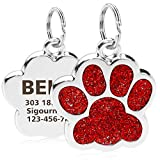 "TagME Personalized Dog & Cat ID Tags, Bling Bling Paw Print Stainless Steel Pet Tags, Up to 4 Lines Custom Text Engaved,1.0""x1.0"" for Small Doggie & Kitten,Red"