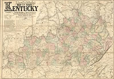 Map: Lloyd's official of the state of Kentucky compiled from actual surveys and official documents, showing every rail road & rail road station with the distances between each station. Also the counti