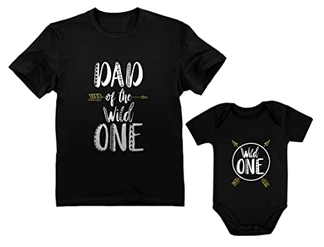 Wild One Dad Baby 1st Birthday Bodysuit Mens T Shirt Matching Set