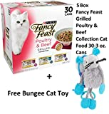 Purina Fancy Feast Pack of 30 Wet Cat Food, Grilled Poultry and Beef Feast Variety Pack, 3 Oz Cans (5 Box + Free Toy)