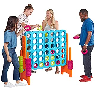 ECR4Kids ELR-12521 Jumbo 4-to-Score Giant Game Set, Backyard Games for Kids, Jumbo Connect-All-4 Game Set, Indoor or Outdoor Game, Adult and Family Fun Game, Easy to Transport, 4 Feet Tall, Vibrant