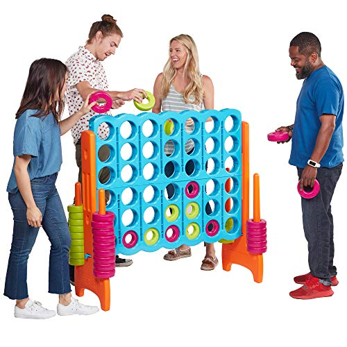 ECR4Kids Jumbo 4-to-Score Giant Game Set, Backyard Games for Kids, Jumbo Connect-All-4 Game Set, Indoor or Outdoor Game, Adult and Family Fun Game, Easy to Transport, 4 Feet Tall, Vibrant (Games To Play Around The Table At Christmas)