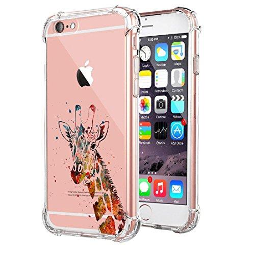 iphone 6/6s Case Cover,Ultra Slim Protective Clear Soft TPU Reinforced Corners (iphone 6/6s, giraffe-orange)