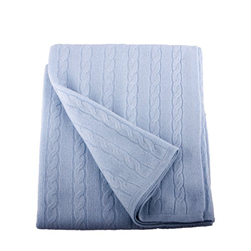 (Lucky Bird Cashmere 100% Cashmere Baby Blanket, Sky Blue)