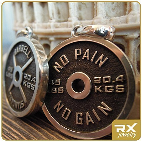 Fitness Jewelry Charm For Weightlifting Bodybuilding Athlete Gifts For Men and For Women Sterling Silver Weight Plate Necklace No Pain No Gain Barbell Pendant Powerlifting Motivation Unique Handmade Sport Women Gift