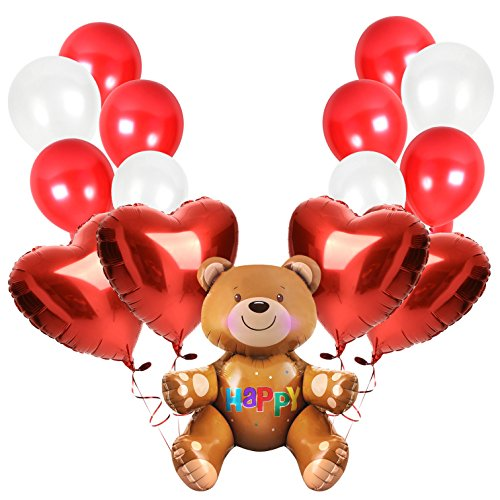 Treasures Gifted Teddy Bear Valentines Day with Cherry Red Balloons Bouquets for First Birthday Party Supplies Baby Shower Engagement or Cute Anniversary (Teddy Treasure)