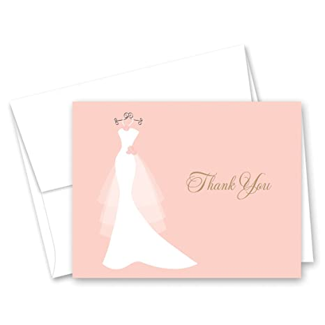 50 cnt pink bridal shower thank you cards wedding dress